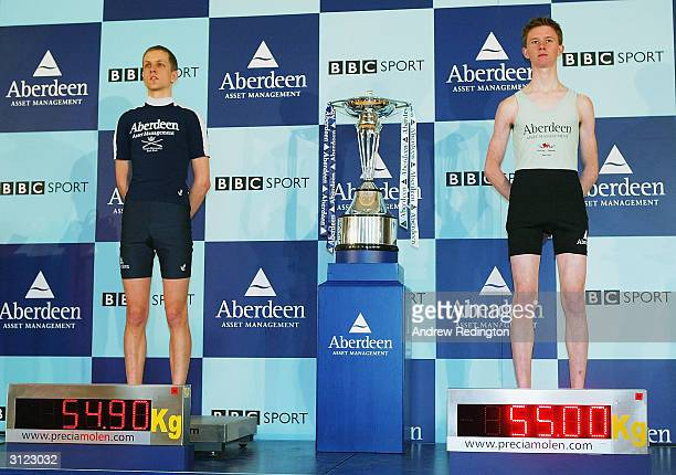 The Oxford University cox Acer Nethercott and the Cambridge University cox Kenelm Richardson are seen during the WeighIn and Photo call on March 23...