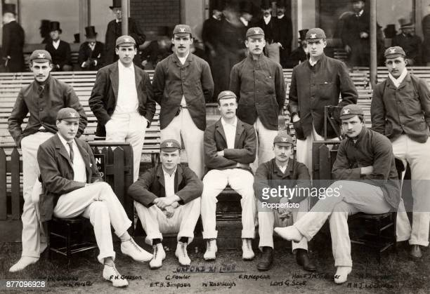 The Oxford University cricket team circa 1888 Left to right back row Arthur Croome Francis Gresson Gerald Fowler Evan Nepean Hon Frederic Thesiger...