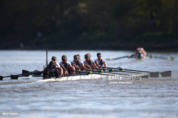 The Oxford women's crew attempt to catch up with The Oxford women's crew during The Cancer Research UK Women's Boat Race on April 2 2017 in London...