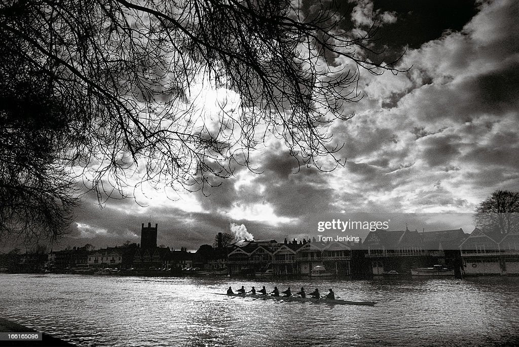 The Oxford women's crew paddle down to the start for the University Boat Race versus Cambridge at HenleyonThames Oxfordshire in March 1994 An image...
