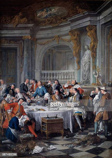 The Oyster Lunch An allmale oyster luncheon a group of nobles are enjoying a lavish feast accompagnied by champagne Painting by Jean Francois de Troy...