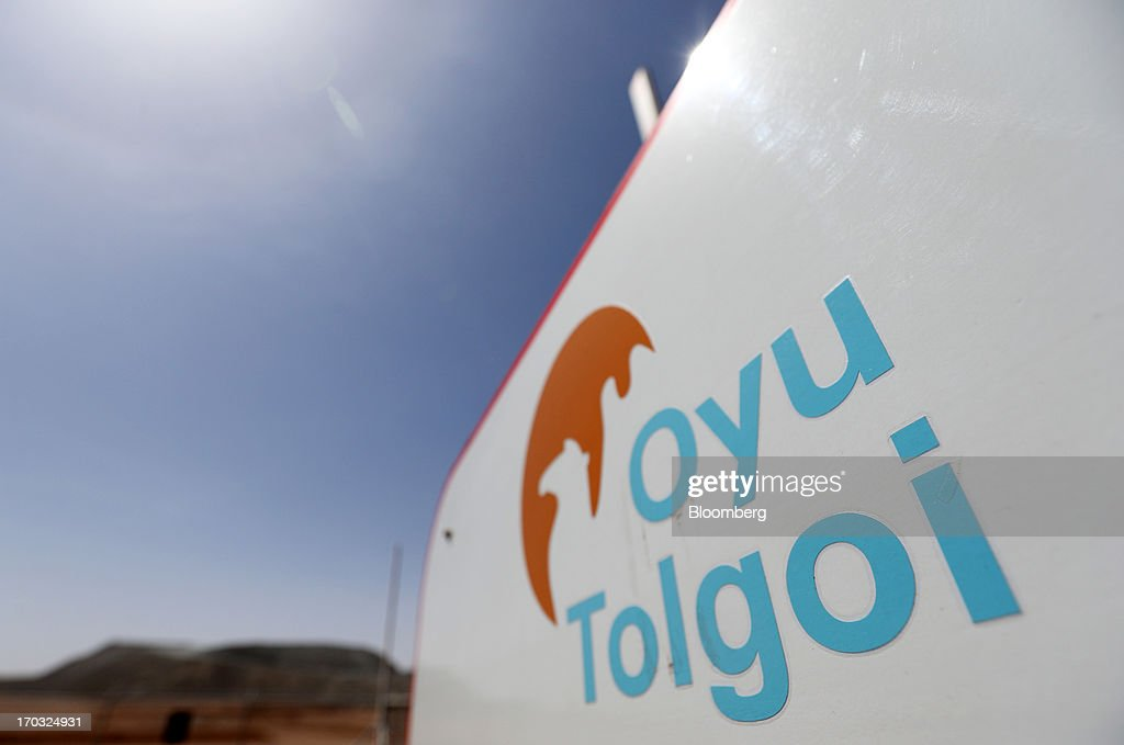 The Oyu Tolgoi logo is displayed at the Oyu Tolgoi copper-gold mine, jointly owned by Rio Tinto Group's unit Turquoise Hill Resources Ltd. and Erdenes Oyu Tolgoi LLC, in Khanbogd, the South Gobi desert, Mongolia, on Friday, June 7, 2013. Rio Tinto, the world's second-biggest mining company, is expected to start first shipments from its $6.6 billion copper-gold mine in Mongolia this month. Tomohiro Ohsumi/Bloomberg via Getty Images