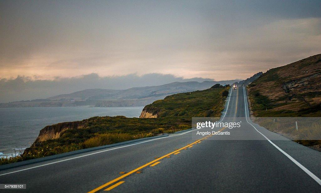 The Pacific Coast Highway in light rain
