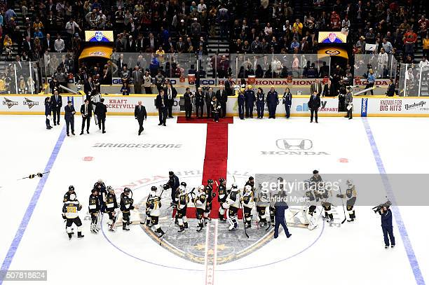 The Pacific Division AllStars and the Atlantic Division AllStars shake hands after the 2016 Honda NHL AllStar Final Game between the Eastern...