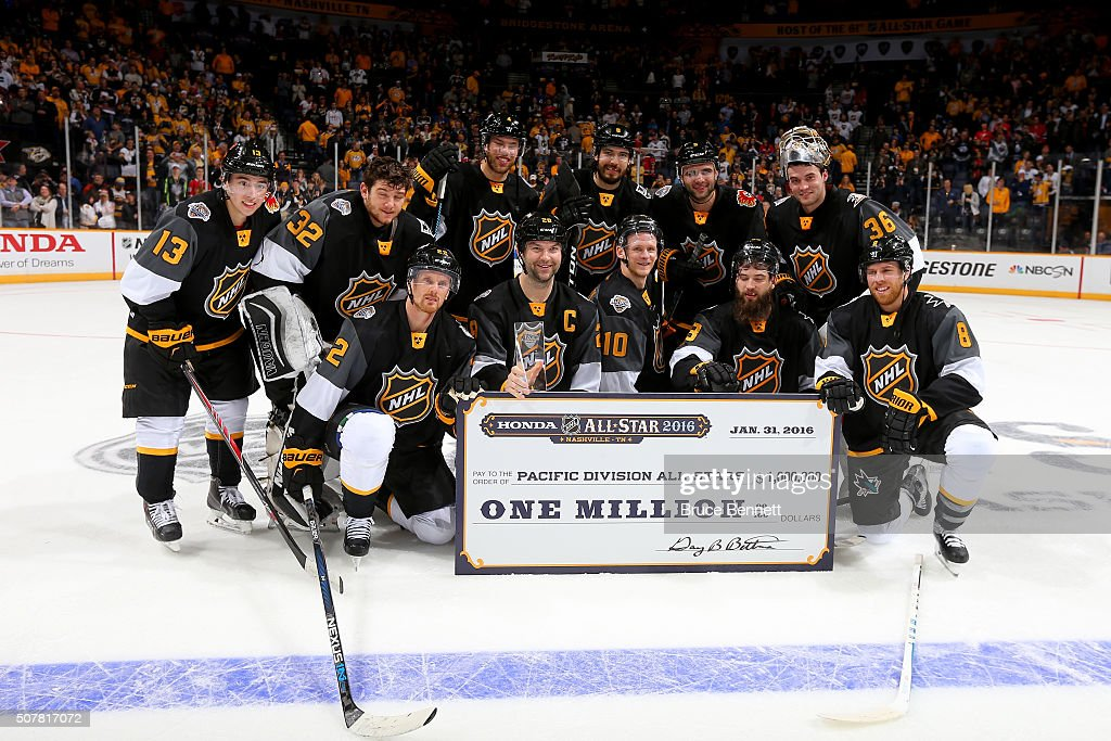 The Pacific Division All-Stars celebrate defeating the Atlantic Division All-Stars in the 2016 Honda NHL All-Star Final Game between the Eastern Conference and the Western Conference at Bridgestone Arena on January 31, 2016 in Nashville, Tennessee.