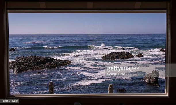 The Pacific Ocean and rugged coastline is viewed from the deck of a private home on September 6 in Fort Bragg California Located three hours north of...