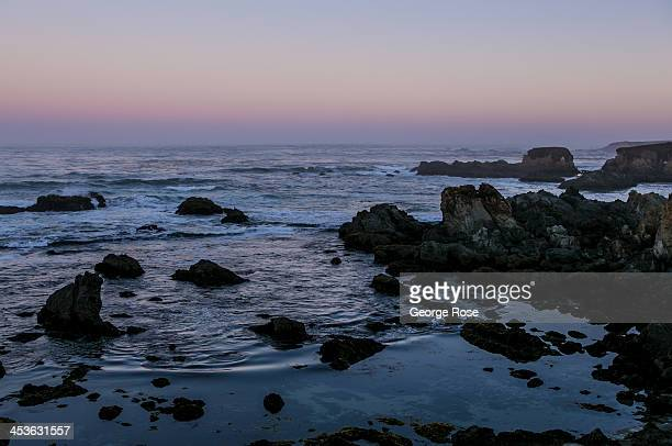 The Pacific Ocean is calm near the Mendocino Coast Botanical Gardens just before sunrise on September 7 in Fort Bragg California Located three hours...
