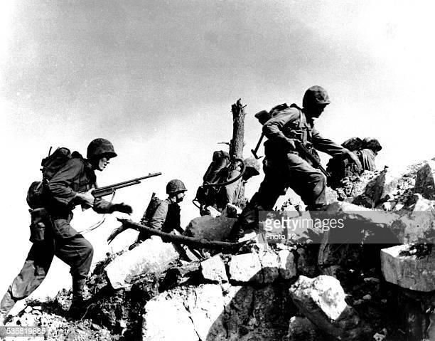 American troops during the attack of Okinawa Japan World War II US marines corps photograph