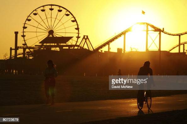 The Pacific Wheel Ferris wheel which has appeared in countless television shows feature films and commercials stands idle on the Santa Monica Pier as...