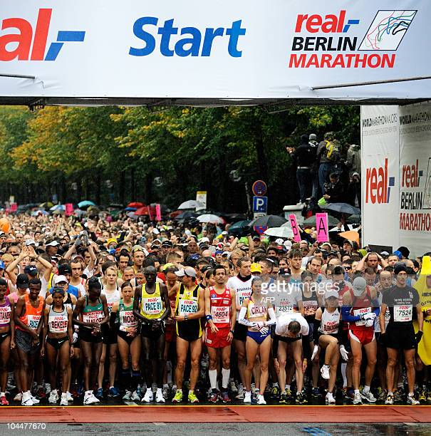 The pack at the start of the Berlin marathon on September 26 2010 Kenya�s Patrick Makau won the race in a time of 20508 ahead of his compatriot...