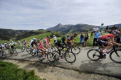The pack climb the Lazkaomendi hill in Lazkao during the first stage of the Tour of the Basque Country a 1534km ride around Ordizia northern Spain on...