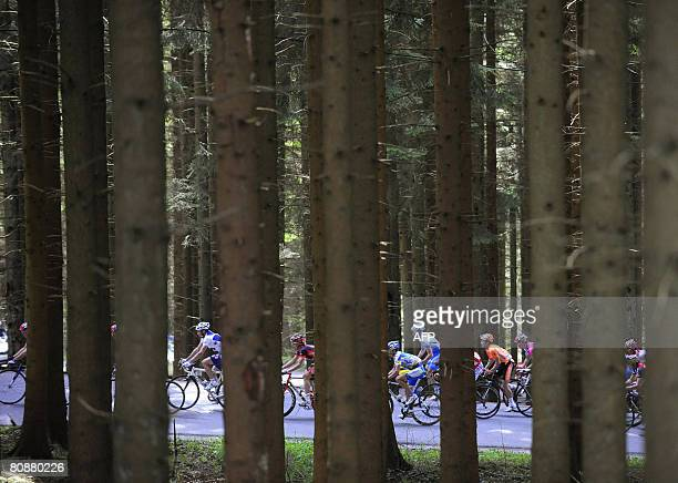 The pack of cyclists vie during the 94th edition of the LiegeBastogneLiege cycling race also called 'La doyenne des classiques' on April 27 in Liege...