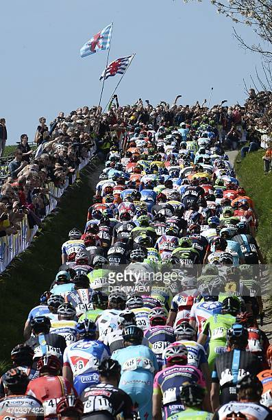 The pack of riders climbs a hill during the 50th edition of the 258km Amstel Gold race between Maastricht and Berg en Terblijt on April 19 2015 **...