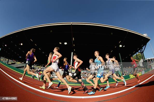 The pack of runners competes in the Mens 800 Meter preliminaries during day one of the 2015 USA Outdoor Track Field Championships at Hayward Field on...