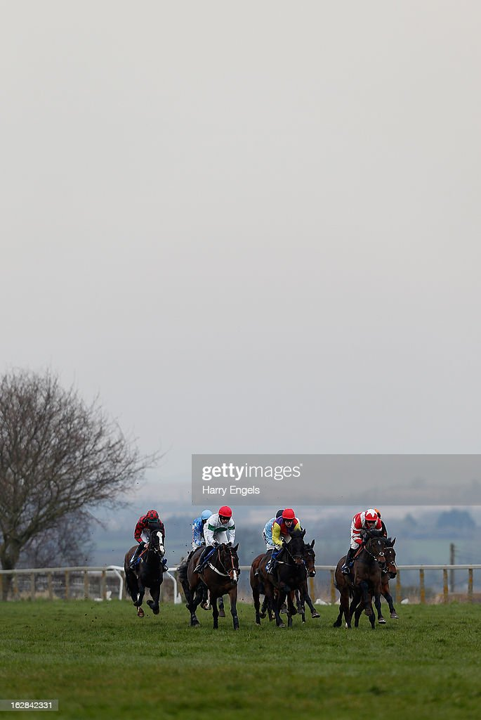 The pack race along the back straight during 'The Alpha Motorability Wheelchair Passenger Transport Novices' Hurdle Race' at Taunton Racecourse on February 28, 2013 in Taunton, England.