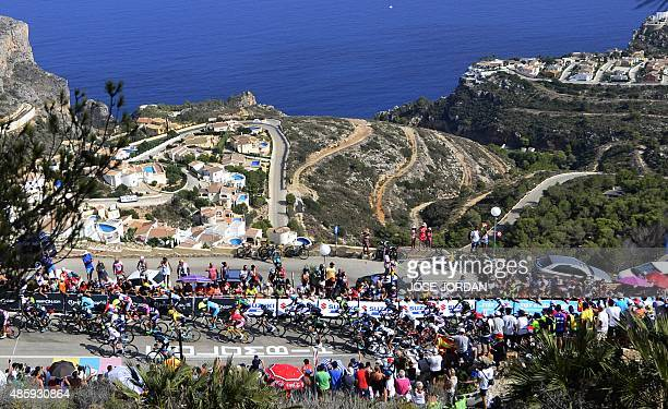 The pack rides druing the nineth stage of the 2015 Vuelta Espana cycling tour a 1683km stage between Torrevieja and Cumbre del Sol municipality of...