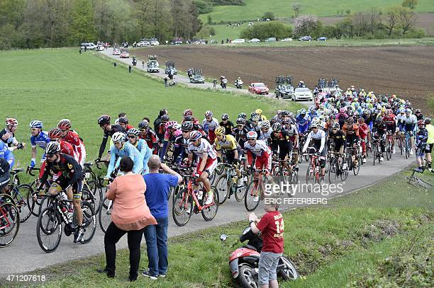 The pack rides during the 101st LiegeBastogneLiege oneday classic cycling race a 253km from Liege to Ans on April 26 2015 AFP PHOTO / ERIC EFEFERBERG