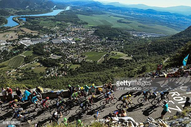 The pack rides during the 160 km fifteenth stage of the 103rd edition of the Tour de France cycling race on July 17 2016 between BourgenBresse and...