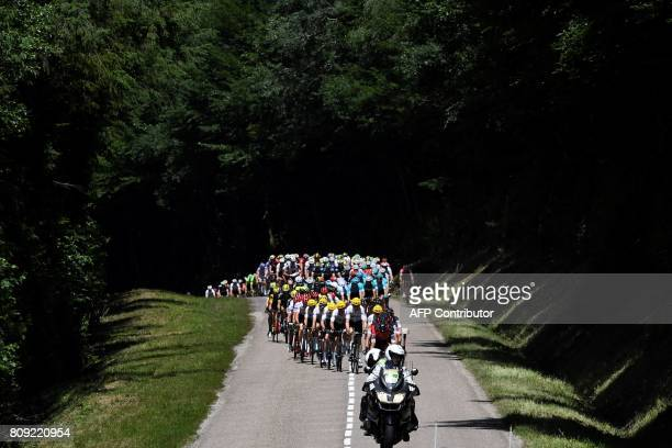 TOPSHOT The pack rides during the 1605 km fifth stage of the 104th edition of the Tour de France cycling race on July 5 2017 between Vittel and La...