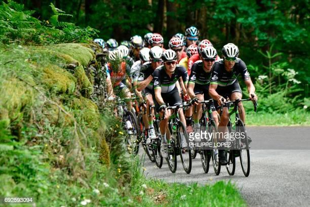 The pack rides during the 171 km second stage of the 69th edition of the Criterium du Dauphine cycling race on June 5 2017 between SaintChamond and...