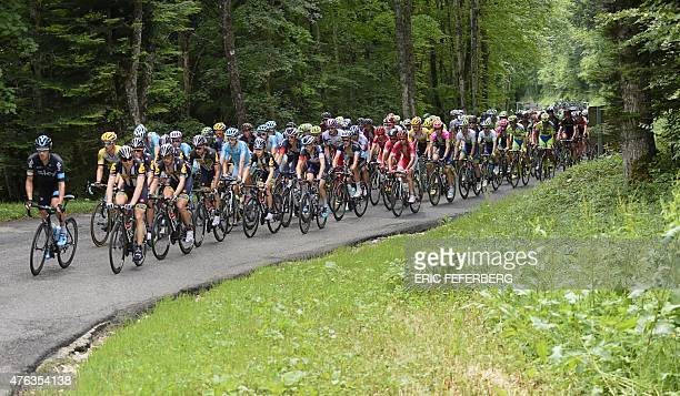 The pack rides during the 173 km second stage of the 67th edition of the Dauphine Criterium cycling race on June 8 2015 between Le BourgetduLac and...