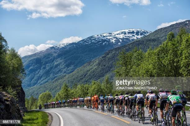 The pack rides during the 1802 km third stage of the Tour des Fjords between Odda and Karmoy in Norway on May 26 2017 / AFP PHOTO / Jonathan...