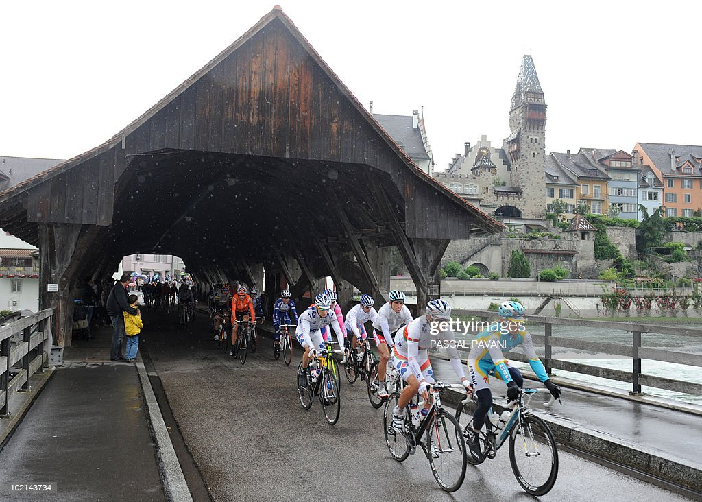 The pack rides during the fifth stage Wettingen - Frutigen of the Tour de Suisse cycling race on June 16, 2010. BMC's Marcus Burghardt claimed his first major win of the season when he dominated the rain-hit fifth stage of the Tour of Switzerland today.