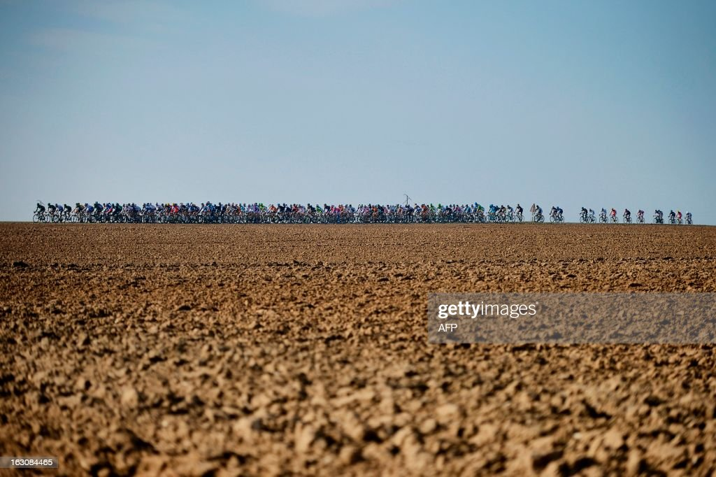 The pack rides during the first stage of the 71st Paris-Nice cycling race between Saint Germain en Laye and Nemours, on March 4, 2013.