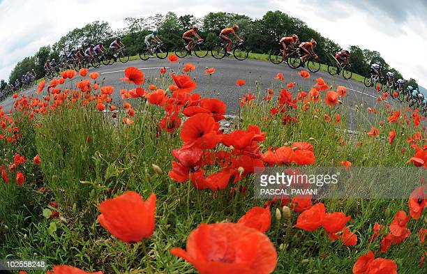 The pack rides during the fourth stage Schawarzenburg Wettingen of the Tour de Suisse cycling race on June 15 2010 Picture taken with a fish eye AFP...