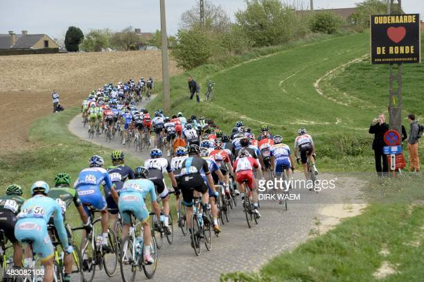 The pack rides during the 'Ronde van Vlaanderen Tour des Flandres Tour of Flanders' one day cycling race 259 KM from Brugge to Oudenaarde on April 6...