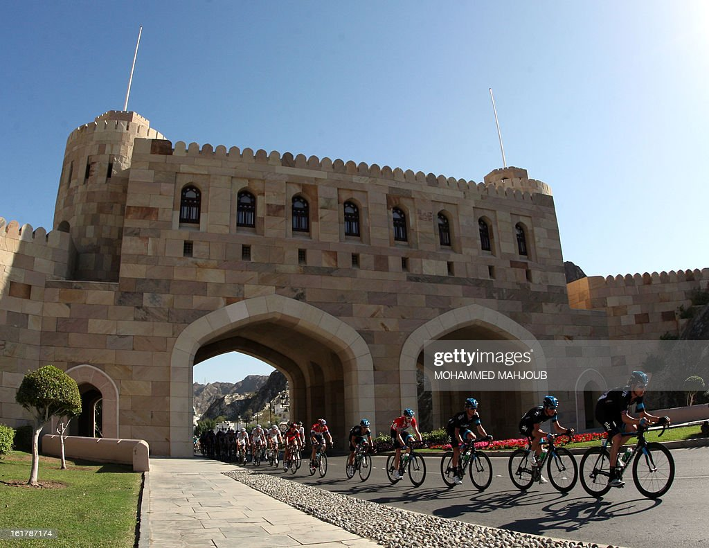 The pack rides during the sixth and last stage of the cycling Tour of Oman, on February 16, 2013, in Oman. The final stage was a 144km ride from Hawit Nagam park in the south of the emirate to Muscat along the Matrah corniche.