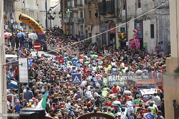 The pack rides during the strat of the 4th stage of the 99th Giro d'Italia Tour of Italy from Catanzaro to Catanzaro on May 10 2016 in Catanzaro /...