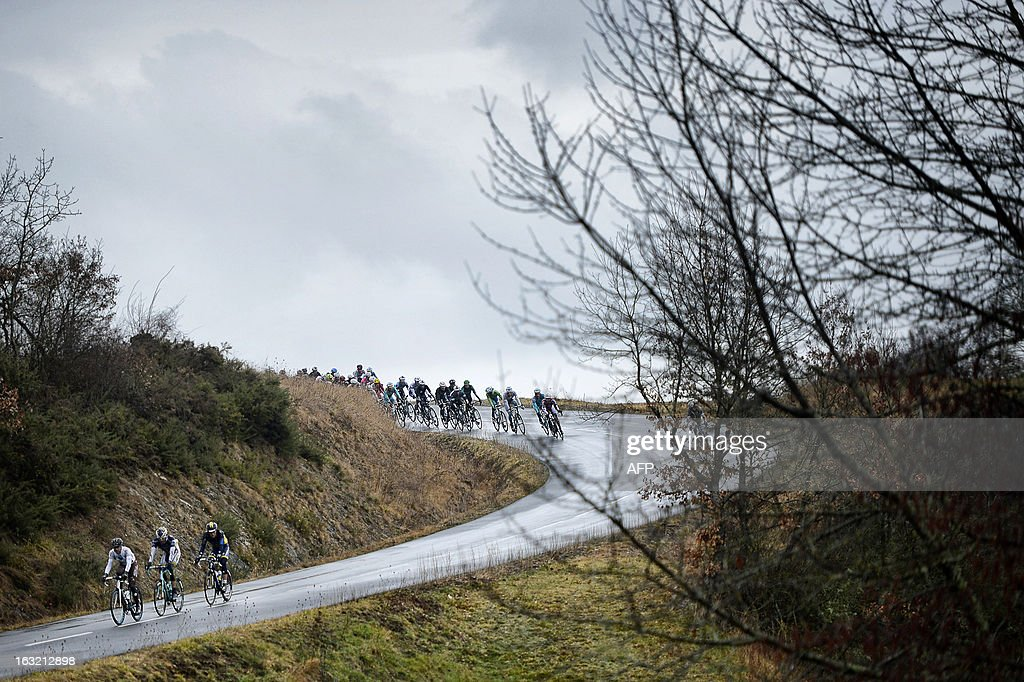 The pack rides during the third stage of the 71st Paris-Nice cycling race between Chatel-Guyin and Brioude, on March 6, 2013.