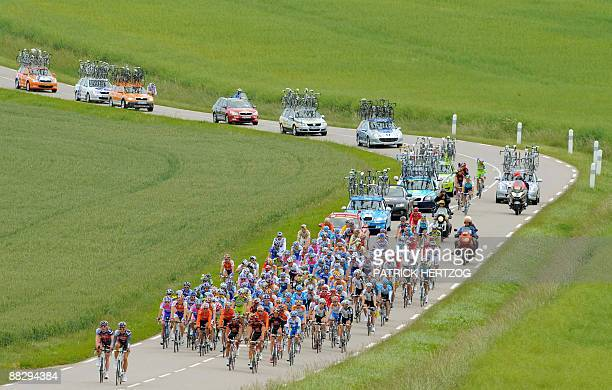 The pack rides in the second stage on June 8 2009 of the 61th edition of the Criterium of Dauphine Libere cycling race run between Nancy and Dijon...