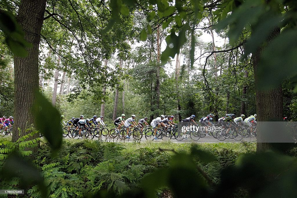 The pack rides in Ulicoten near Baarle-Nassau during the fourth stage of the Eneco Tour cycling race from Essen to Vlijmen, the Netherlands, on August 15, 2013. German Andre Greipel of team Lotto-Belisol won the fourth stage.