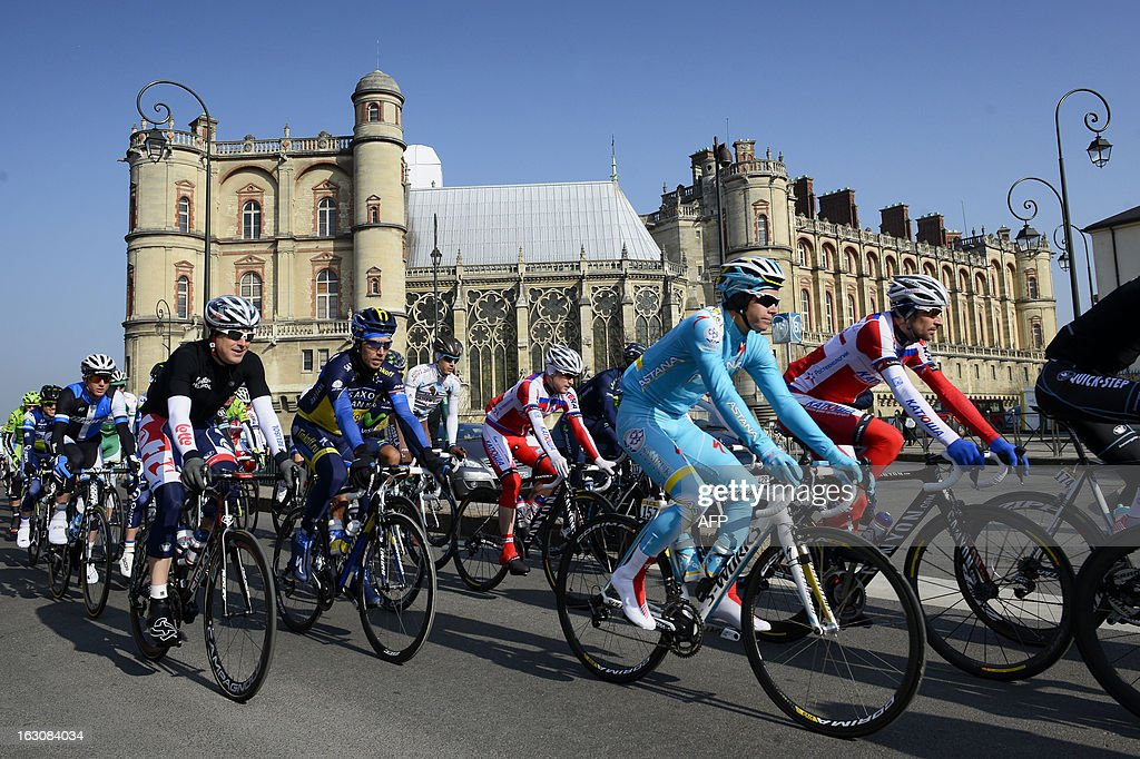 The pack rides on March 4, 2013 in Saint Germain en Laye during the first stage of the 71st edition of The Paris-Nice cycling race from Saint Germain en Laye to Nemours.