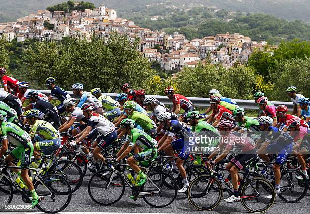 The pack rides past Rivello village during the 5th stage of 99th Giro d'Italia Tour of Italy from Praia a Mare to Benevento of 233 km on May 11 2016...