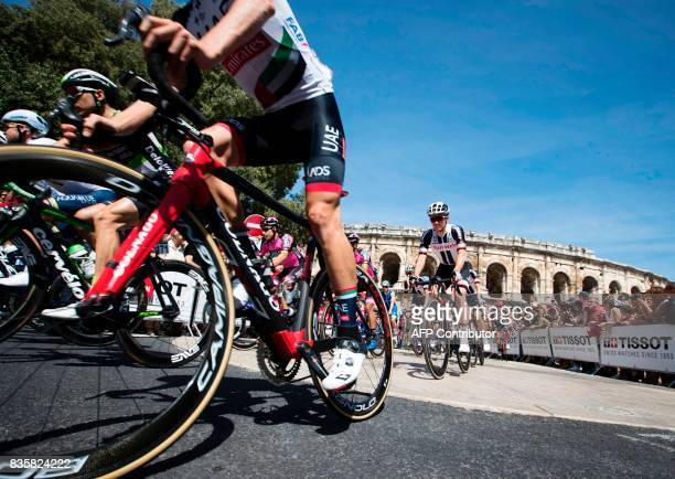 The pack takes the start of the 2nd stage of the 72nd edition of 'La Vuelta' Tour of Spain cycling race a 2034km route between Nimes to Gruissan on...