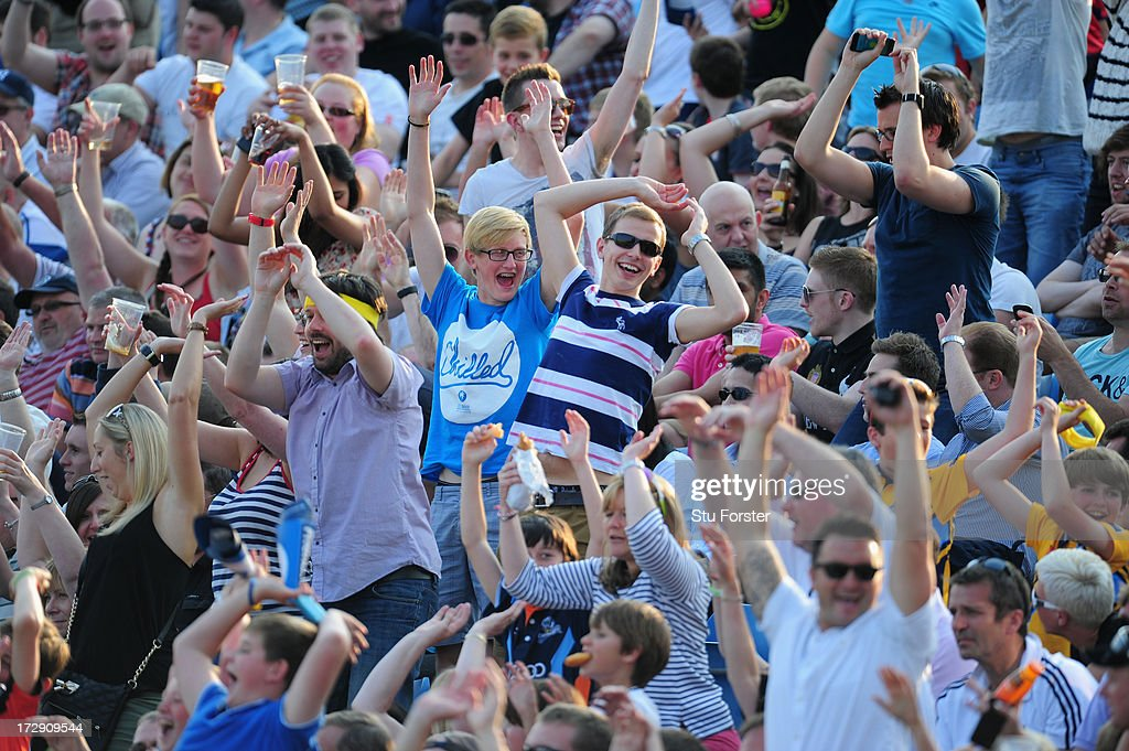 The packed crowd enjoy themselves during the Friends Life T20 match between Yorkshire Carnegie and Lancashire Lightning at Headingley Carnegie Stadium on July 5, 2013 in Leeds, England.