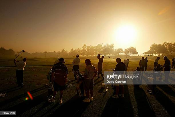 The packed practice range during the morning fog delay before the completion of the 2nd round of the Dubai Desert Classic on the Majilis Course at...