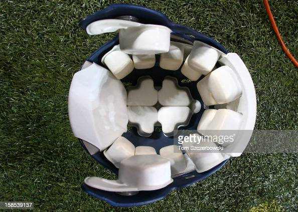 The padding on the inside of a Seattle Seahawks helmet before an NFL game against the Buffalo Bills at Rogers Centre on December 16 2012 in Toronto...