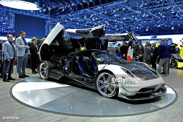The Pagani Huayra BC is displayed during the Geneva Motor Show 2016 on March 1 2016 in Geneva Switzerland The 86th International auto show will run...