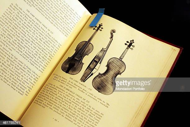 The page of a book about the Lord Norton violin photographed in the workshop of the stringed instrument maker David Segal at 74 West 68th Street New...