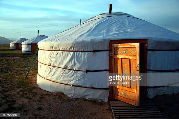The painted door of a 'ger' or 'yurt' traditional Mongolian tentlike dwelling
