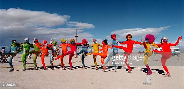 The 'Painted People' of San Francisco and New York dance while wearing only paint for clothing September 2 2000 at the15th annual Burning Man...