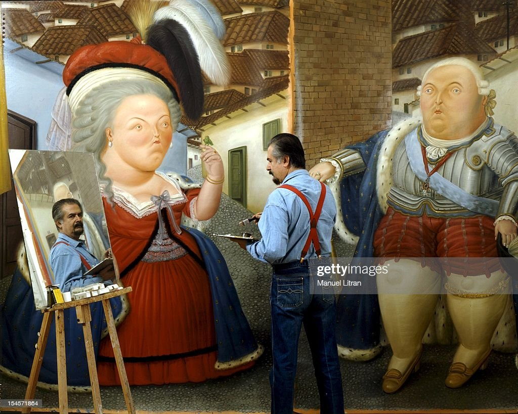 The painter <a gi-track='captionPersonalityLinkClicked' href=/galleries/search?phrase=Fernando+Botero&family=editorial&specificpeople=593546 ng-click='$event.stopPropagation()'>Fernando Botero</a> back to paint the ending LOUIS XVI AND MARIE ANTOINETTE IN VISIT TO COLOMBIA reflecting his image in a mirror placed on a bridge allowing it to verify the composition in reverse.