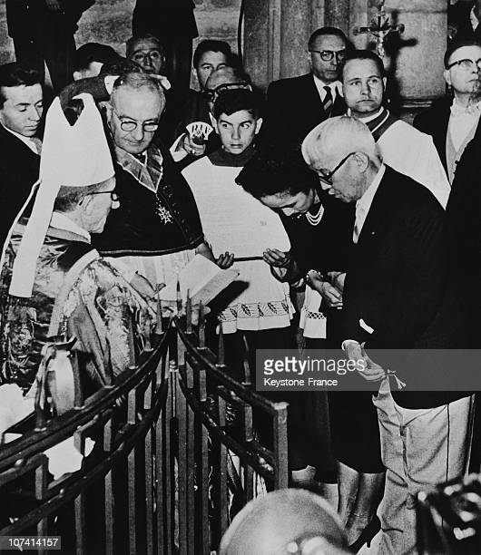 The Painter Foujita And His Wife Convrting To The Catholicism On October 14Th 1959
