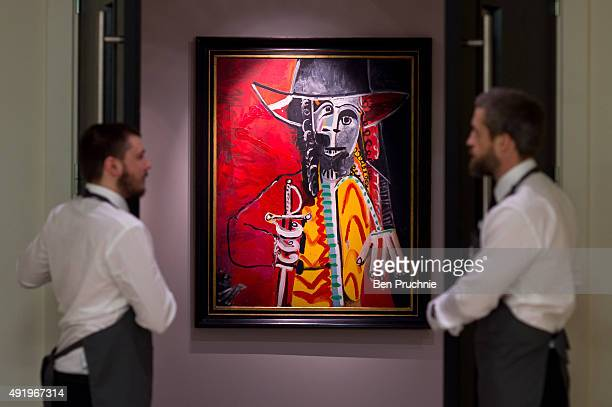 The painting 'Homme a l'epee' by Pablo Picasso on display during the preview ahead of the artist's muse a curated evening sale in Christie's New York...
