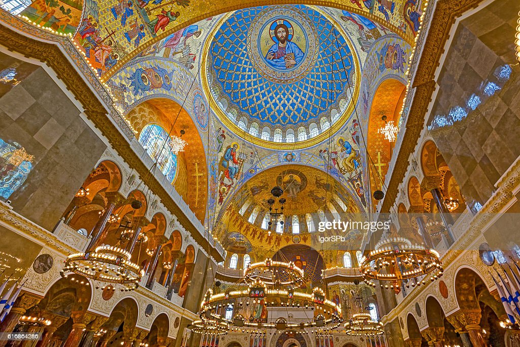 The painting on the dome of Naval Cathedral in Kronstadt : Stock Photo