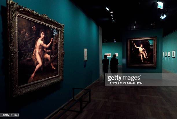 The painting 'Saint Jean Baptiste dans le desert' by Italian painter Raphael is seen as people visit the exhibition 'Late Raphael'on October 9 2012...
